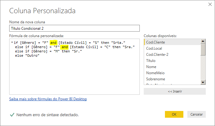 Coluna Condicional no Power BI com M