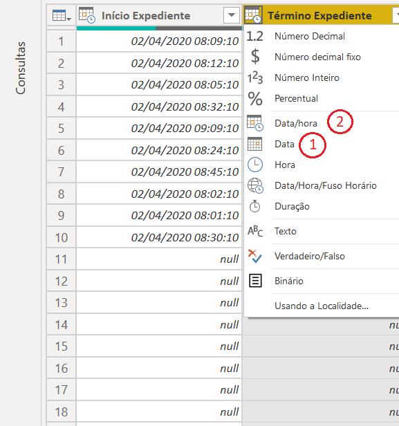 Tipo de dados data e data hora power BI