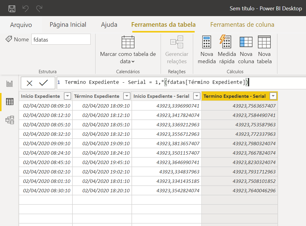 Número serial Power BI
