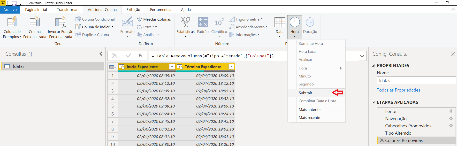 Subtrair colunas no Power BI