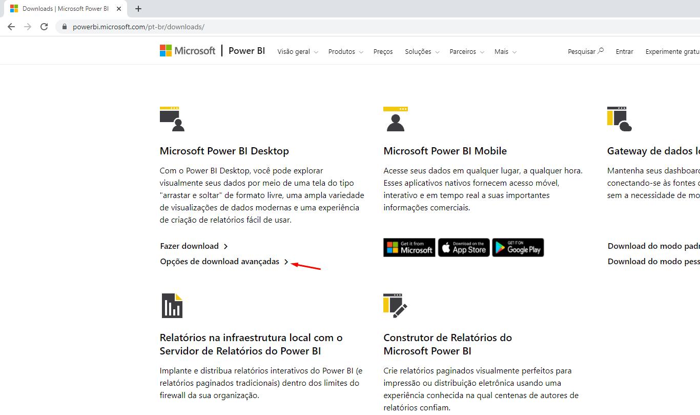 página geral de downloads