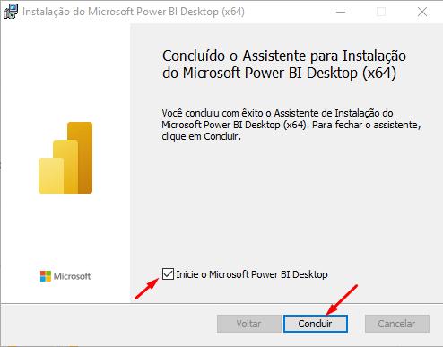 tela final de instalação Power BI