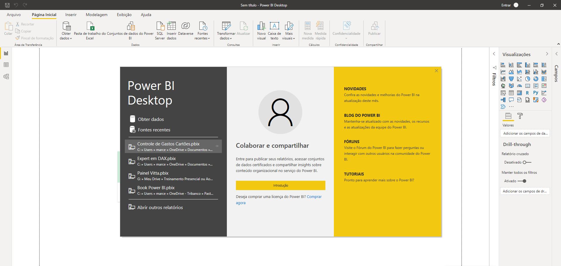 tela inicial power bi desktop